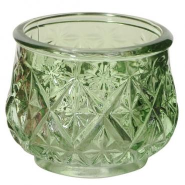 Teelichtglas, Windlicht, Vintage in Grün, 75 mm