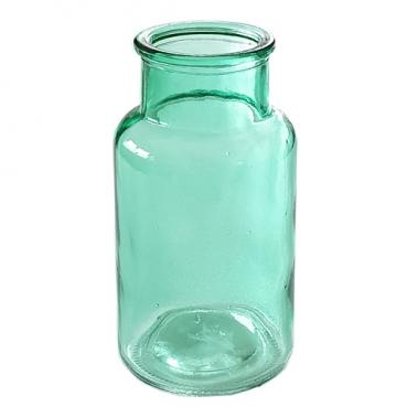Glas Flaschen Vase, große Öffnung in Smaragdgrün, 13 cm