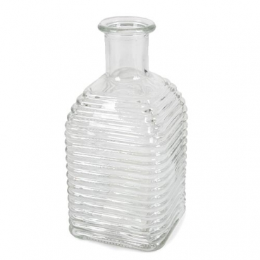 Glasväschen eckig, quer geriffelt, 13,5 cm