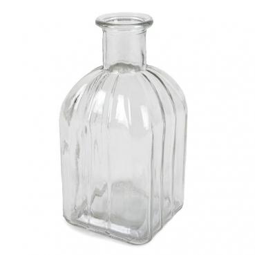 Glasväschen eckig mit Längsstreifen, 13,5 cm