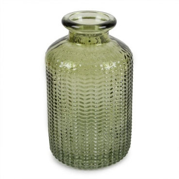 Kleines Glas Flaschen Väschen, gemustert in Grün, 10 cm