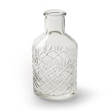 Glas Flaschen Väschen mit Verzierung, klar, 12 cm