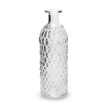 Glas Flaschen Vase Vintage mit Wabenmuster, klar, 25,5 cm