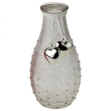 Glas Flaschen Väschen geeist, genoppt mit Herzanhänger, in Weiß, 14 cm
