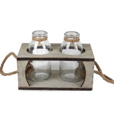 2 Glas Väschen in einer Holzbox mit Sisalhenkel, 15,5 cm