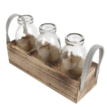 3 Glas Väschen in einer Holzbox mit Stoffhenkel, 19 cm
