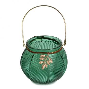 Glas Windlicht in Grün mit Henkel, Blatt, 95 mm