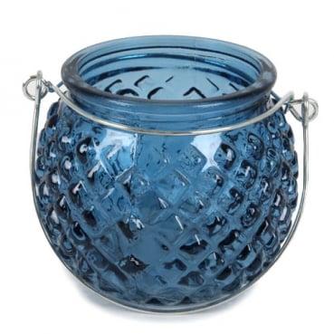 Glas Windlicht rund, Rautenstruktur mit Henkel, in Dunkelblau, 80 mm
