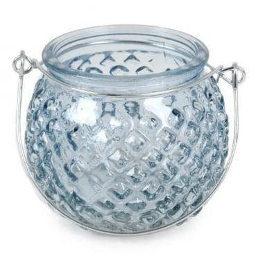 Glas Windlicht rund, Rautenstruktur mit Henkel, in Hellblau, 80 mm