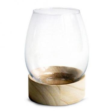 Windlichtglas, Vase auf Holzsockel, 18 cm