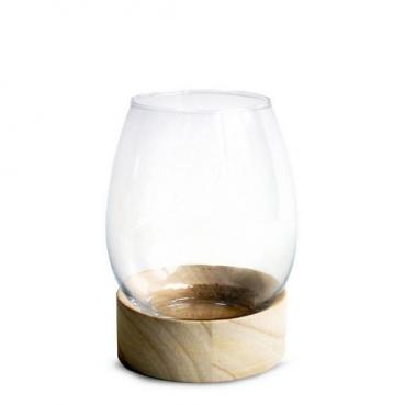 Kleines Windlichtglas, Vase auf Holzsockel, 15 cm