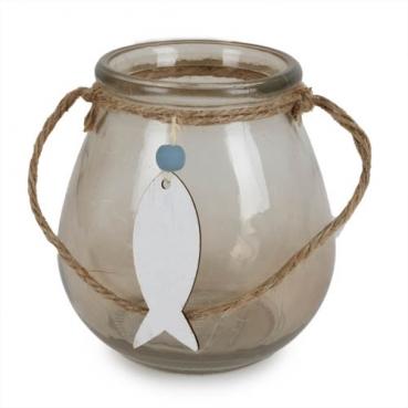 Glas Windlicht Maritim mit Holz Fischanhänger, in Taupe, 11 cm