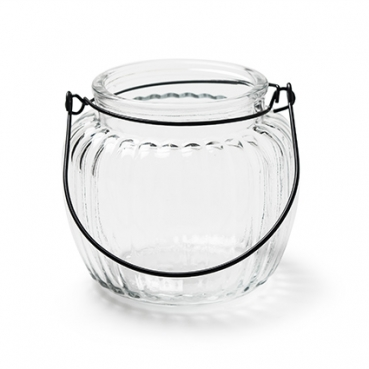 Glas Windlicht mit Streifen, Henkel in Schwarz, 10,5 cm