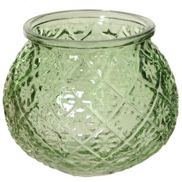 Glas Windlicht, Vase, Blümchen in Grün, 11 cm