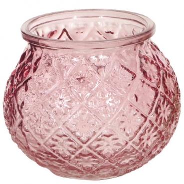 Glas Windlicht, Vase, Blümchen in Rosa, 11 cm