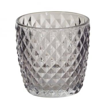 Teelichtglas, konisch, Karomuster in Hellgrau, 75 mm