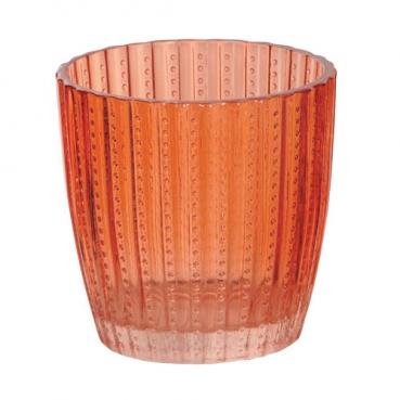 Teelichtglas, konisch, Streifen & Punkte in Orange, 75 mm