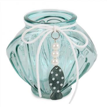 Glas Windlicht, Vase Muschel mit Perlen, Holz Fischanhänger, in Mintgrün, 11 cm