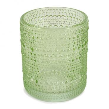 Glas Windlicht, Vase, Punkte in Hellgrün, 10 cm