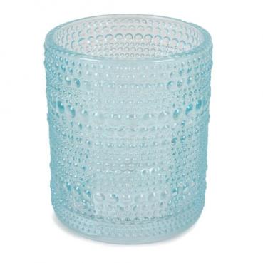 Glas Windlicht, Vase, Punkte in Mintblau, 10 cm