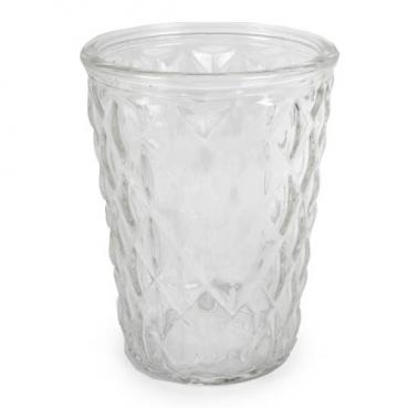 Glas Windlicht Vintage für Kerzen und Blumen, Rautenmuster, 13 cm