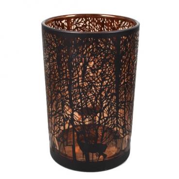 Großes Glas Windlicht Wald in Schwarz/Kupfer, 17,5 cm
