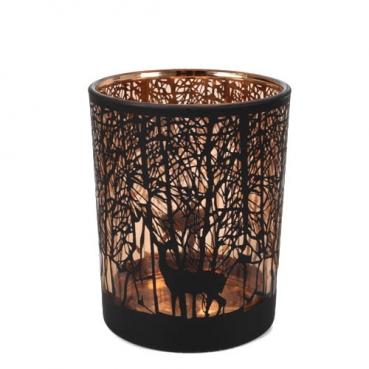 Glas Windlicht Wald in Schwarz/Kupfer, 12,5 cm