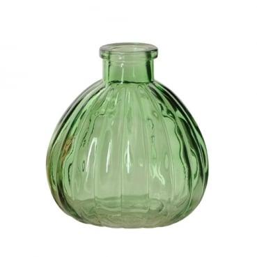 Kleines Glas Väschen, rund mit Streifen in Grün, 90 mm