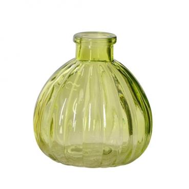 Kleines Glas Väschen, rund mit Streifen in Hellgrün, 90 mm