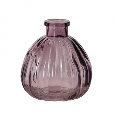 Kleines Glas Väschen, rund mit Streifen in Aubergine, 90 mm