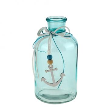 Glas Flaschen Vase Maritim mit Holz Anker, in Türkis, 16 cm