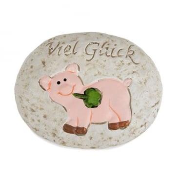Gastgeschenk Glücksstein mit Schweinchen, 75 mm
