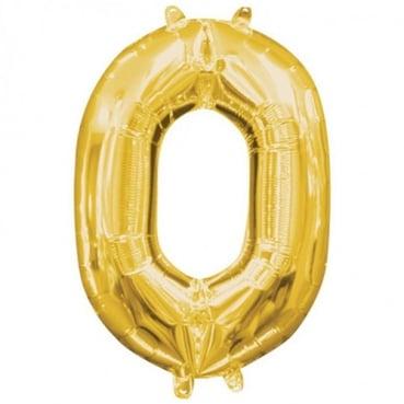 Großer Folien Zahlenballon 0 in Gold, 66 cm