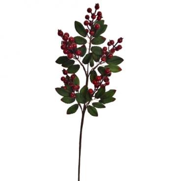 Großer Deko Beeren Zweig mit Blättern in Rot und grün, 59 cm