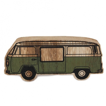 Holz Retro Bus in Oliv, 15 cm