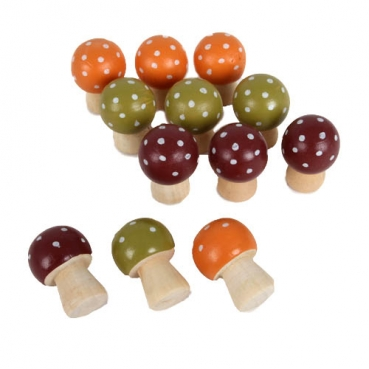 12 Streudeko Holz Pilze mit farbigem Hut, 30 mm