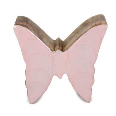 Kleiner Schmetterling aus Mangoholz, Glanz in Hellrosa, 80 mm