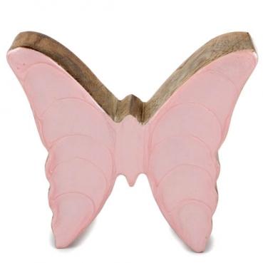 Schmetterling aus Mangoholz, Glanz in Hellrosa, 10,5 cm