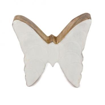 Kleiner Schmetterling aus Mangoholz, Glanz in Weiß, 80 mm