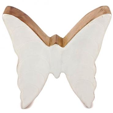 Schmetterling aus Mangoholz, Glanz in Weiß, 10,5 cm