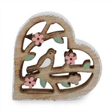 Holz Aufsteller Herz mit Vögelchen, 12 cm