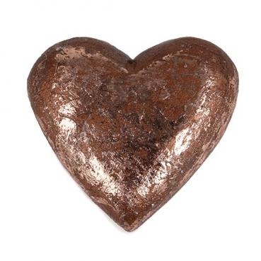 Holz Herz geschnitzt in Antik-Kupfer, 50 mm