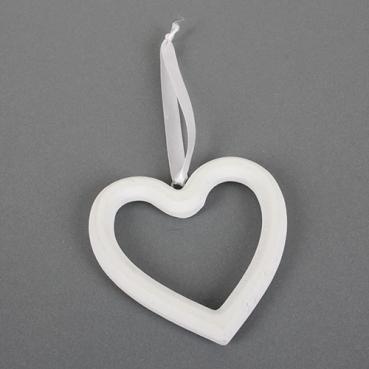 Holz Herz mit Band zum Aufhängen in Weiß, 12 cm