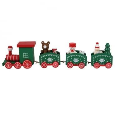 Holz Weihnachtsdeko Lokomotive in Grün, 20 cm