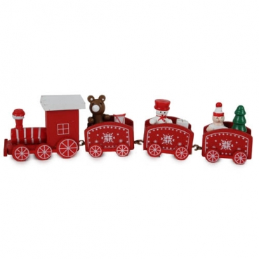Holz Weihnachtsdeko Lokomotive in Rot, 20 cm