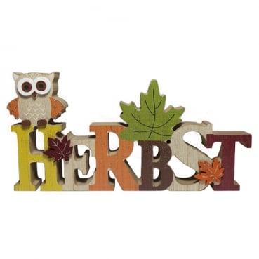 Holz Schriftzug Herbst, Eule mit Glitzerverzierung, 22 cm