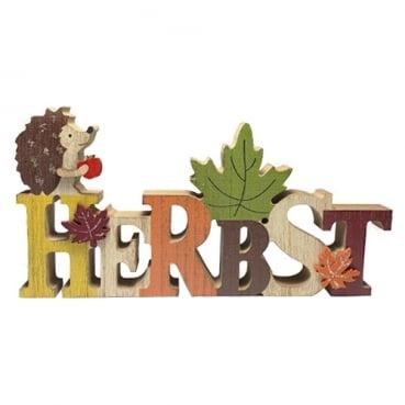 Holz Schriftzug Herbst, Igel mit Glitzerverzierung, 22 cm