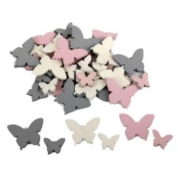36 Holz Streudeko Schmetterlinge, gemischt, 15 und 25 mm