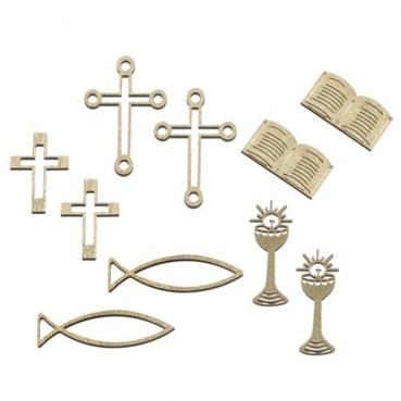 10 Holz Streuteile Christliche Motive in Gold