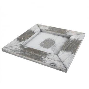Holztablett, Gesteckunterlage, quadratisch in Grau-Weiß, 15 cm